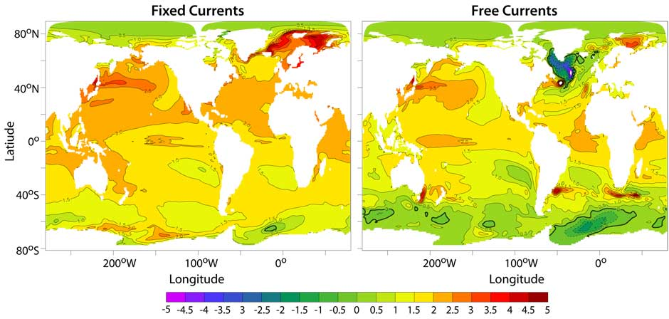Sea surface temperature change without (left) and with (right) ocean circulation changes.