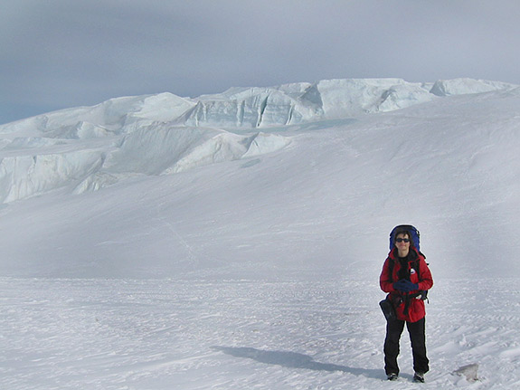 Olga Sergienko, an associate research scientist in the GFDL/Princeton University's Program in Atmospheric and Oceanic Sciences, shown during a research expedition to the McMurdo Ice Shelf in Antarctica in winter 2006.