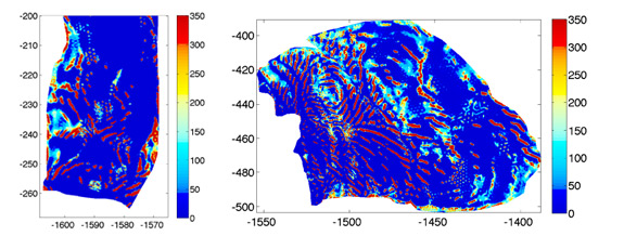 Mathematical modeling and data from satellites and ground-penetrating radar were used to infer the existence of ribs (in red) indicating areas of high friction between the glacier and the underlying bedrock. These high-friction ribs slow the movement of ice toward the sea. The image on the left is the Pine Island Glacier and the image on the right is the Thwaites Glacier, both in West Antarctica.