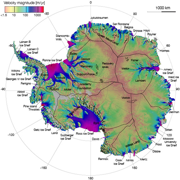 This map shows the Pine Island and Thwaites Glaciers, at far left, in West Antarctica. (Image courtesy of NASA)
