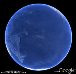 Image of the Pacific side of the globe.
