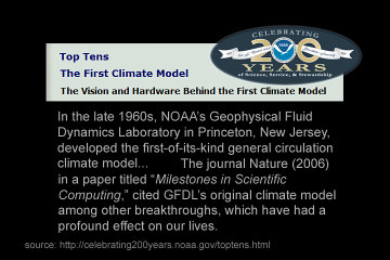 [World's first climate model screen shot]