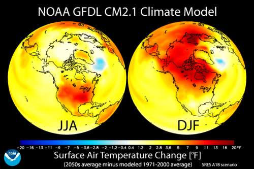 [Global Warming - seasons JJA DJF from GFDL CM2.1 cliamte model]
