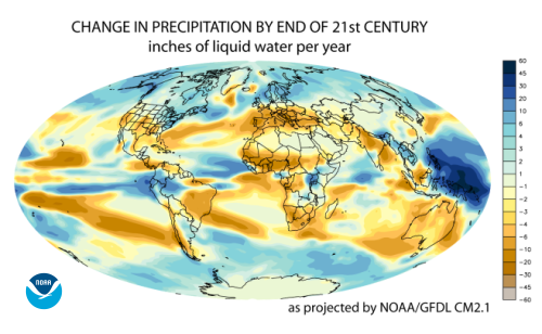 [map of change in precipitation by end of 21st century - NOAA GFDL]