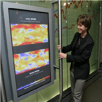 [Koshland sliding screen of climate model animations. photo credit: Bowman Design Group]