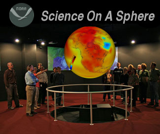 [Science On A Sphere image digitally edited to display GFDL CM2.1 temperature field]