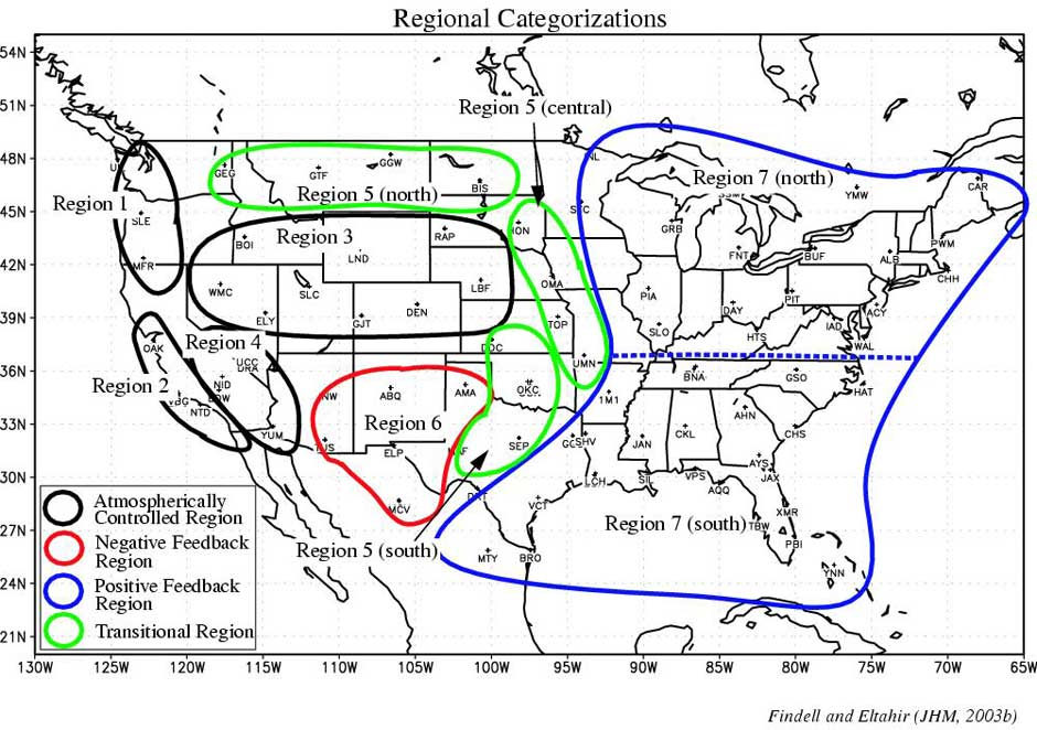 Representative regions within the continental US, based on CTP-HIlow scatter plots from radiosonde stations with at least 10 years of data between 1957 and 1998.